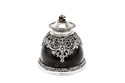 Lot 212-An Edwardian sterling silver mounted tortoiseshell inkwell, London 1904 by J Batson & Son