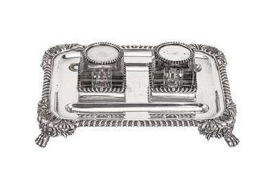 Lot 385 - An early 20th century sterling silver inkstand, probably American circa 1920