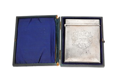 Lot 377 - A cased Victorian sterling silver card case, Birmingham 1863 by Edward Smith