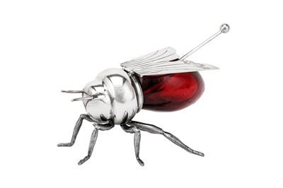 Lot 227-An early 20th century silver plated (EPNS) honeybee pot, by Mappin and Webb