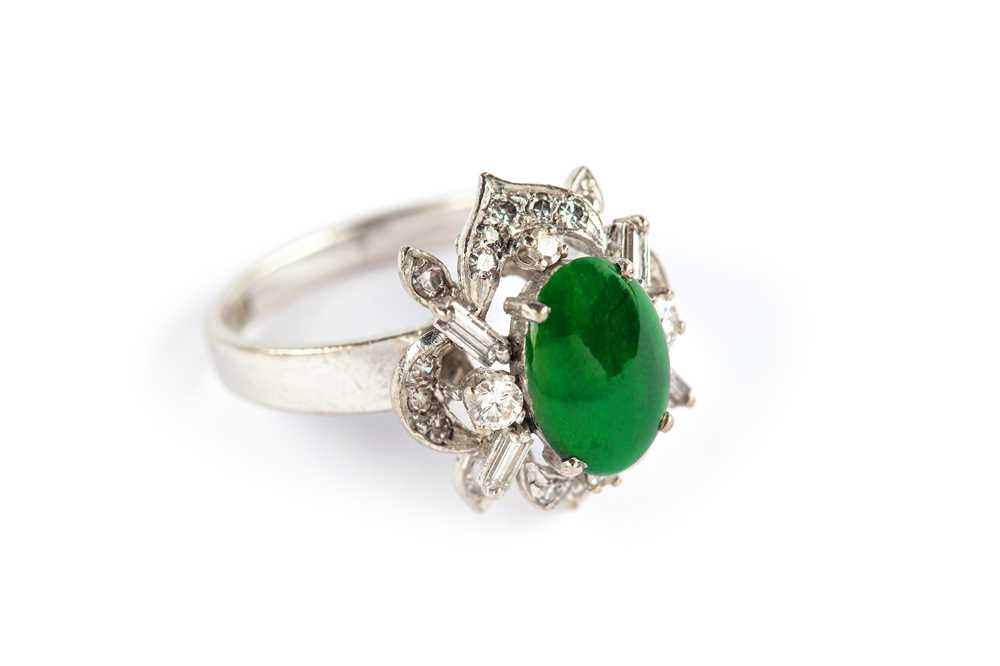 Lot 9-A jade and diamond ring