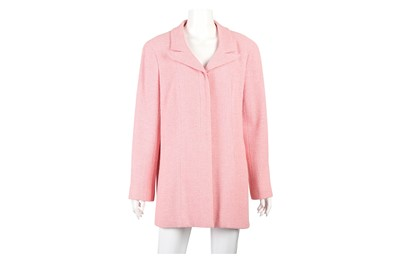 Lot 26-Chanel Pink Tweed Single Breasted Jacket - Size 46