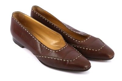 Lot 87-Hermes Brown Leather Flats - Size 39