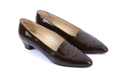 Lot 85-Chanel Brown Patent Court Shoes - Size 39.5
