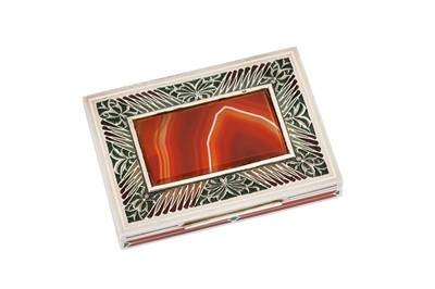 Lot 205 - An early 20th century Austrian 935 standard silver, enamel and agate cigarette case, Vienna by BF, Brüder Frank, import marks for London 1927 by George Stockwell, retailed by Alfred Dunhill