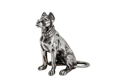 Lot 224-An early 20th century cast sterling silver model of a Great Dane dog, import marks for Chester 1902 by Samuel Boyce Landeck