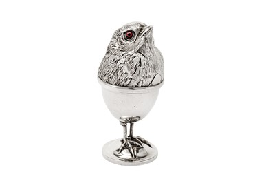 Lot 226-A rare Edwardian sterling silver novelty egg cup and cover, Chester 1909 by Davis, Moss & Co