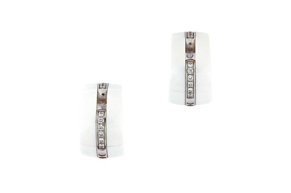 Lot 46-A pair of ceramic and diamond 'Ultra' earrings, by Chanel