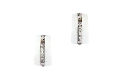 Lot 46 - A pair of ceramic and diamond 'Ultra' earrings, by Chanel