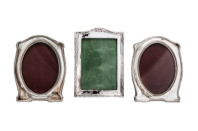 Lot 370 - A pair of George V sterling silver photograph frames, Birmingham 1920 by Jones & Crompton