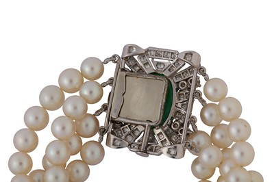 Lot 3-A cultured pearl necklace and bracelet suite with jade and diamond clasps, circa 1950