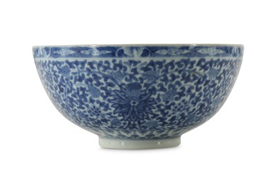 Lot 253 - A CHINESE BLUE AND WHITE EGGSHELL PORCELAIN 'LOTUS' BOWL.