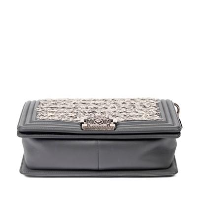 Lot 208 - Chanel Grey Tweed Medium Boy Bag