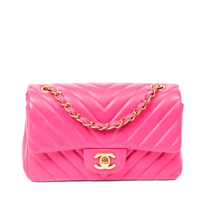 Lot 37-Chanel Pink Chevron Quilted Mini Flap Bag