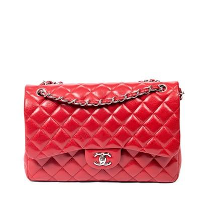 Lot 1-Chanel Red Caviar Jumbo Double Flap Bag