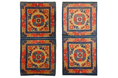 Lot 27-A PAIR OF DOUBLE SETTED TIBETAN TEMPLE RUGS