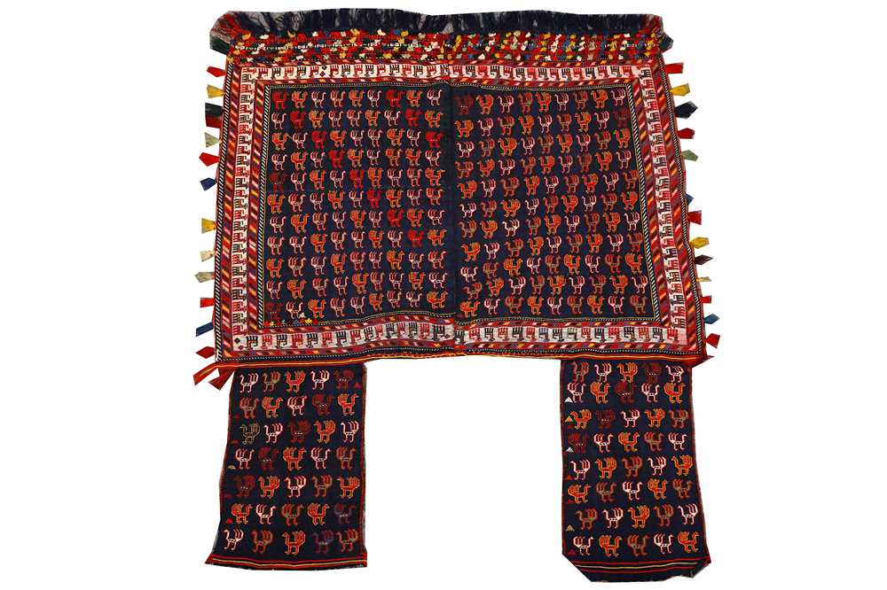 Lot 23-A FINE QASHQAI H FLAT WEAVE HORSE COVER, SOUTH WEST PERSIA