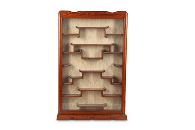 Lot 18 - A CHINESE WOOD SNUFF BOTTLE DISPLAY CABINET.