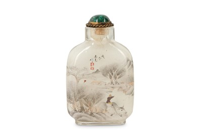 Lot 6 - A CHINESE GLASS INSIDE-PAINTED 'LANDSCAPE' SNUFF BOTTLE, BY ZHOU LEYUAN.