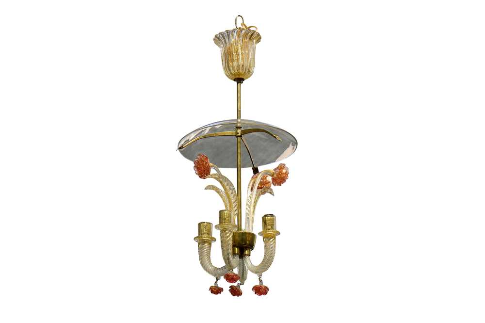 Lot 22-A Murano glass chandelier in the manner of Barovier