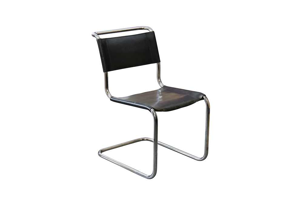 Lot 15-A Thonet Mart Stam S 33 black leather upholstered tubular steel cantilever dining chair
