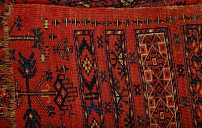 Lot 48-AN ANTIQUE TEKKE JUVAL RUG, EAST TURKMENISTAN