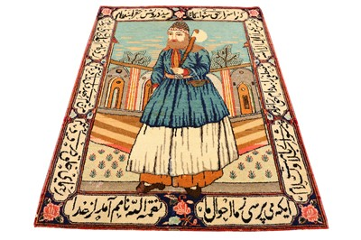 Lot 42-A FINE ANTIQUE KASHAN DABIR PICTORIAL RUG, CENTRAL PERSIA