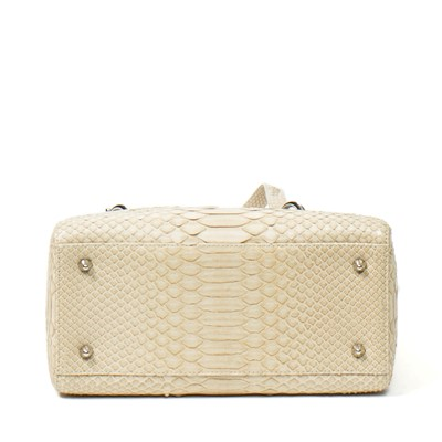Lot 117 - Christian Dior Cream Python Medium Lady Dior