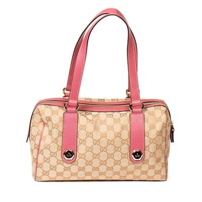 Lot 45-Gucci Beige Monogram Charmy Boston Bag