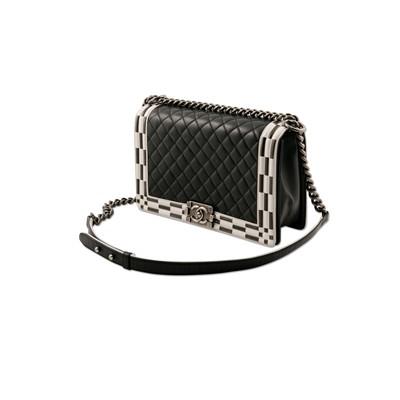 Lot 35-Chanel Black Checkerboard Trim Medium Boy