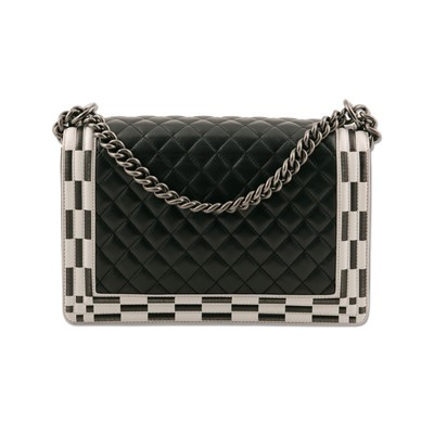 Lot 35-Chanel Black Checkerboard Trim Medium Boy