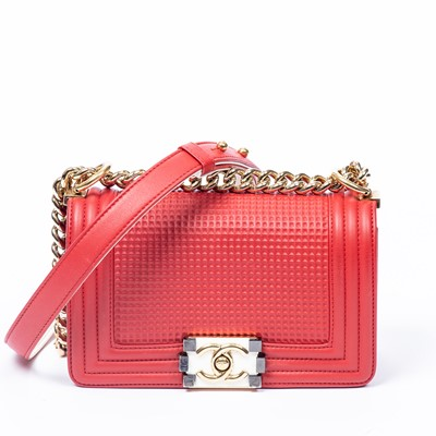 Lot 2-Chanel Red Cube Embossed Small Boy Bag