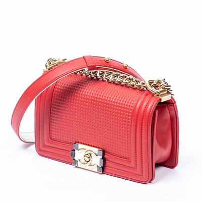 Lot 25-Chanel Red Cube Embossed Small Boy