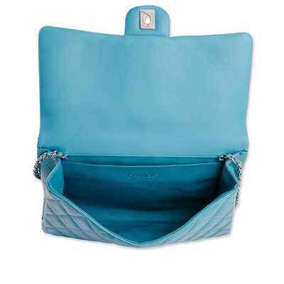 Lot 31-Chanel Turquoise Timeless Flap Clutch Bag