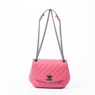 Lot 41-Chanel Pink Quilted Round Single Flap Bag