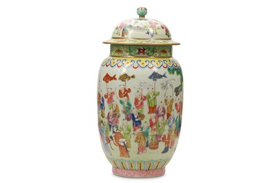 Lot 37 - A CHINESE FAMILLE ROSE 'HUNDRED BOYS' JAR AND COVER.
