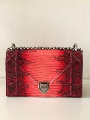 Lot 3-Christian Dior Red Lizard Diorama Small Flap Bag