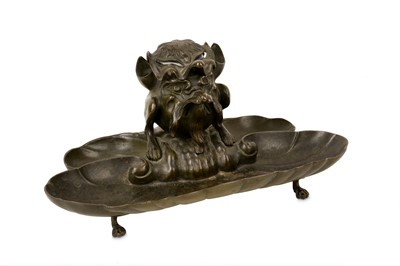 Lot 34-A 19TH CENTURY BRONZE INKWELL FORMED AS A GROTESQUE BEAST