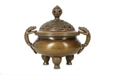 Lot 75 - A CHINESE BRONZE 'CHILONG' INCENSE BURNER AND COVER.