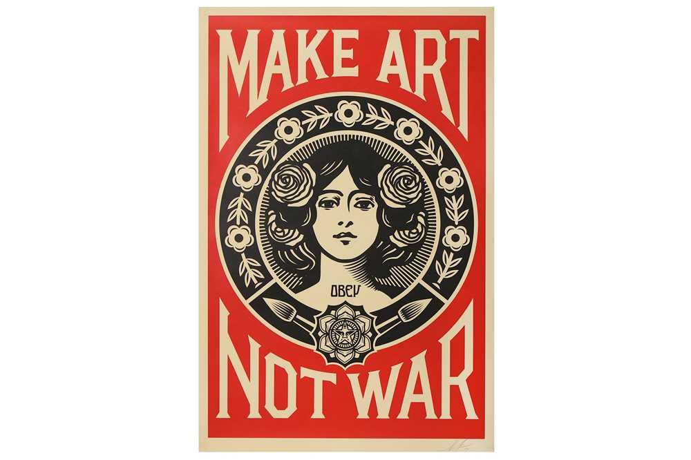 Lot 20-Shepard Fairey (American, b.1970), 'Make Art Not War'