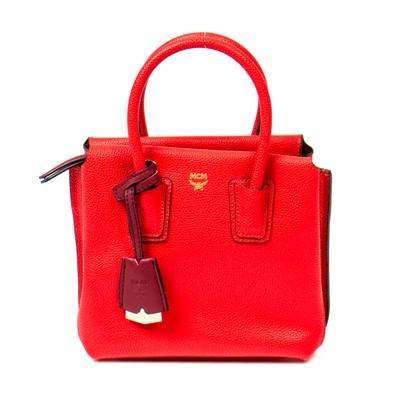 Lot 15-MCM Red Milla Mini Satchel Bag
