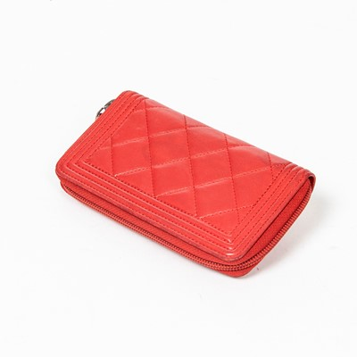 Lot 26-Chanel Red Boy Wallet