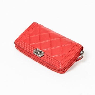 Lot 18-Chanel Red Boy Wallet