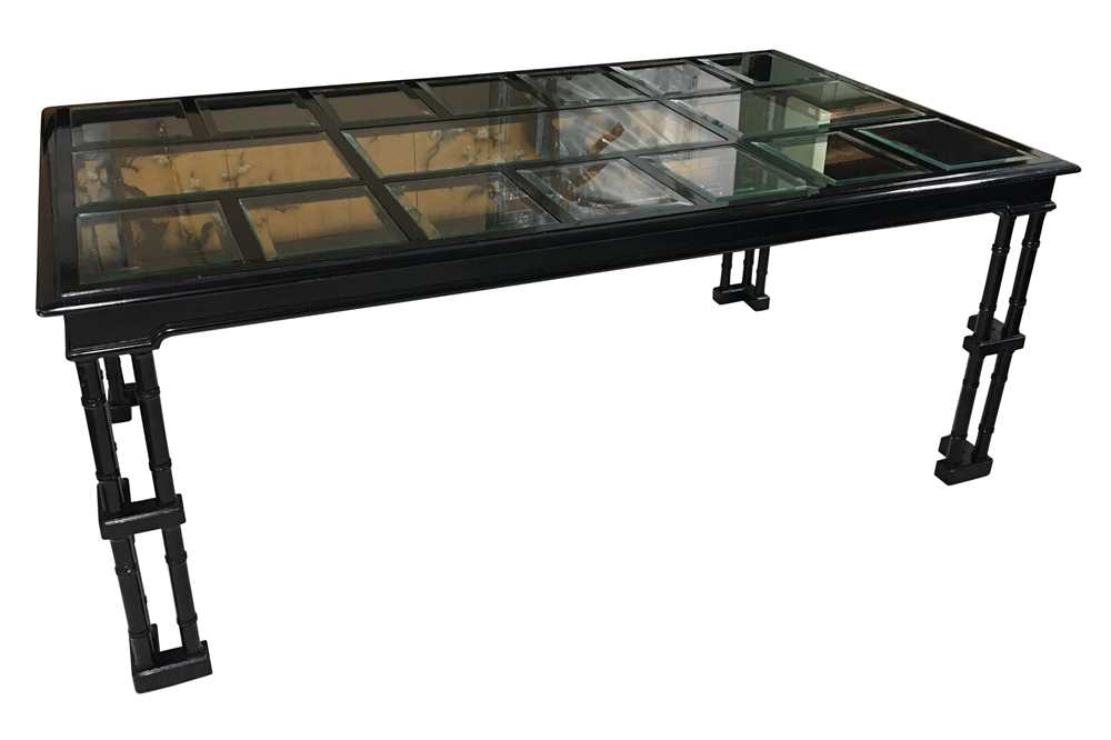 Lot 18-A circa 1970's black lacquered dining table