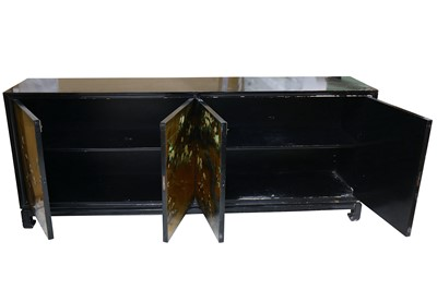 Lot 16-A circa 1970's Japanese inspired black lacquered sideboard