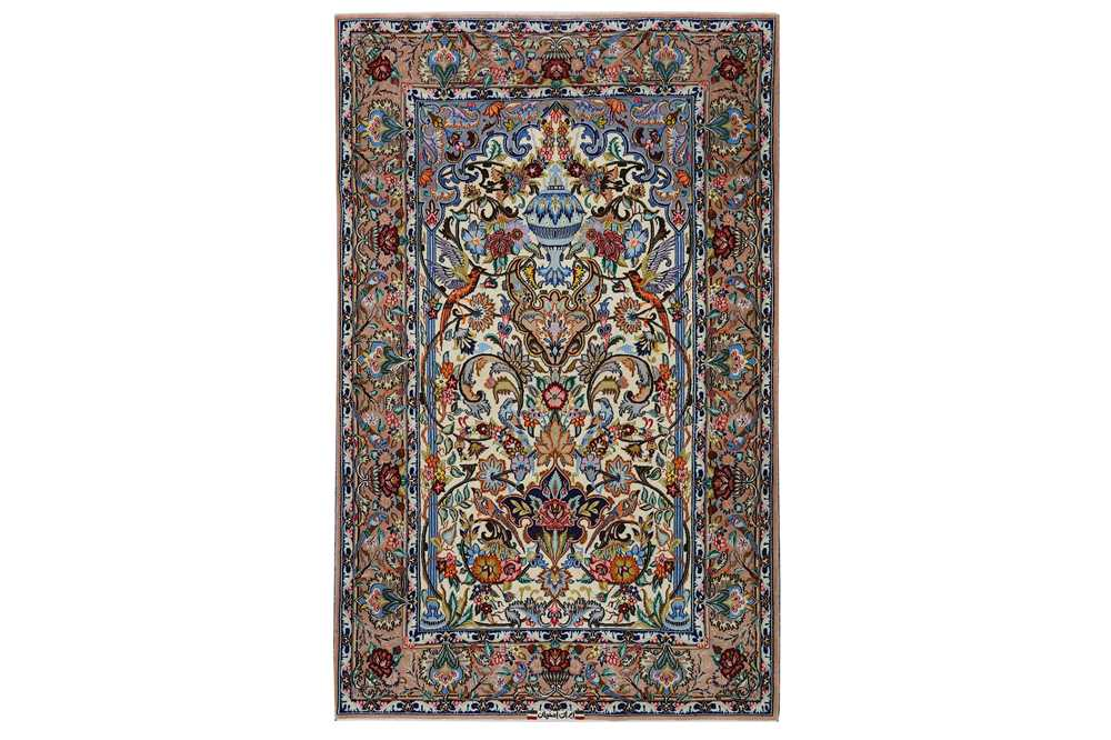 AN EXTREMELY FINE PART SILK SIGNED PRAYER ISFAHAN RUG, CENTRAL PERSIA