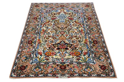 Lot 18-AN EXTREMELY FINE PART SILK SIGNED PRAYER ISFAHAN RUG, CENTRAL PERSIA
