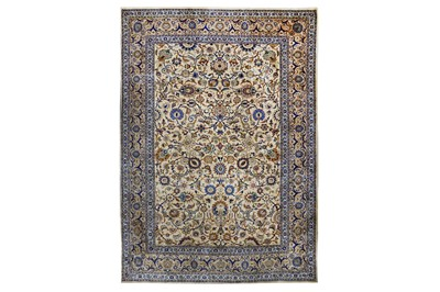 Lot 63-AN EXTREMELY FINE SILK KASHAN RUG, CENTRAL PERSIA