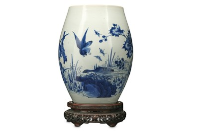 Lot 159 - A CHINESE BLUE AND WHITE 'LOTUS POND' VASE.