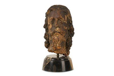 Lot 21-A 15TH / 16TH CENTURY GERMAN CARVED LIMEWOOD HEAD OF CHRIST